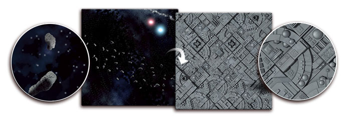 Gaming Mat - Asteroids Field / Space Station (BB955)
